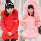 Kids Girls Padded Coat Hooded Fur Collar Warm Jacket Parkas Pocket Outwear