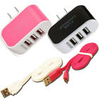 Triple USB Charging Port Data w/ Cable wall Charger Cord for Adriod Cell phones
