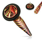 1 x Multi Coloured Electro Plated Surgical Steel 16 Gauge Fake Taper With O Ring