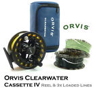 ORVIS Clearwater LA Casette Fly Reel + 3-Line LINE LOADED OPTIONS & Spare Spools