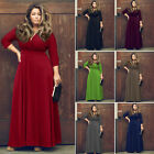 Fashion Women Ladies 3/4 Sleeve V-Neck Plus Size Wide Hem Long Maxi Dress M-2XL