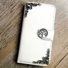 Tree phone wallet Leather flip case White Card cute cover For Samsung S6 S7 Edge