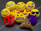 EMOJI EMOTICON KEY RING YELLOW ROUND STUFFED PLUSH KEY CHAIN