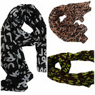 PINK BLACK or BROWN/GREEN GRAFFITI FASHION LADIES SCARF WRAP 150cm x 50cm UKSELL