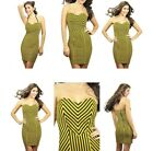 Carmin Rocker Chick Striped Short Dress Yellow Black Stretchy