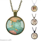 GIFT Retro Map Time Gemstone Pendant Necklace Fashion Women Men Jewelry