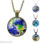 GIFT Stylish Women Earth Galaxy Univer Glass Cabochon Pendant Necklace M14649