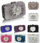 Clutch Bag Satin Rouched Brooch Hard Case Wedding Prom Evening Party Womens