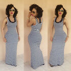 Fashion Women Long Sleeveless Black White Striped Cocktail Casual  Dress Beach A