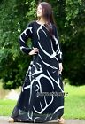 Long Sleeves Maxi Dress Plus Size Black Abstract Coast Beach Chiffon L XL 1X 2X