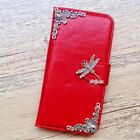 Dragonfly phone wallet Leather flip case Red Handmade cover For iPhone 5 6S plus