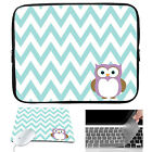 "Owl Neoprene Sleeve Case Bag Mouse Pad Keyboard Cover For 15-15.6"" Laptop Dell"
