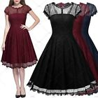 Women Vintage Retro Floral Lace Formal Evening Cocktail Party Swing Dresses