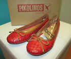 PIKOLINOS Pisa Ballet Flats Carmin Red Leather Womens Shoes 937-7389