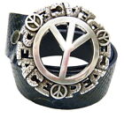 Perpetual Vogue Peace Sign Belt Blue Leather Python Design Peace Sign Buckle