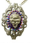Rocker Jewelry French Crown Purple Jade Ornate Pendant  Crown Necklace