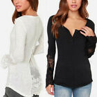 UK Size 8-26 Women Crochet Lace Long Sleeve Top V Neck Floral Tees Shirt Blouse