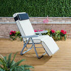 Alfresia Garden Reclining Relaxer Silver Adjustable Chair with Luxury Cushion