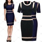 Women Vintage Casual Evening Party Business Work Contrast Bodycon Pencil Dress