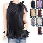 Retro Elegant Satin Pleated Sleeveless Shirt Top Blouse