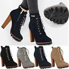 New Womens Ladies Ankle Boots Lace Up Block High Heel Platforms Combat Grip Size