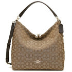 New Coach F55365 Outline Signature Celeste Hobo Crossbody Bag Brown Khaki NWT