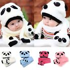Baby Toddler Infant Cartoon Panda Beanie Scarf Hat Set 1-3 Years 4 Colors 8HOT