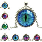 Vintage Jewelry Cat Eye Pendant Necklace Rhinestone Ethnic Charm Necklace JR