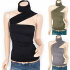Stunning Diagonal Strap Ruched Detachable Neck Tube Sleeveless Blouse Top