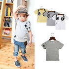 Summer Children Boy Kids Cotton Short Sleeve Top Blouse T-Shirt Tee Clothes 1-7Y