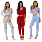 Hot Fashion Clothes Set Sexy Women Crop Top With Pants Cropped Sweatshirts A