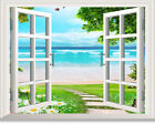 Beach 3D Window View Fire Balloon Removable Wall Art Stickers Decal Home Decor