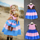 New Girls Kids Children Clothes Pink and Blue Stripe Contrast Color Dresses