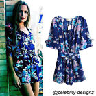 js2 CFLB Floral Vintage Summer Womens Playsuit Romper Beach Jumper Size 8 10 12