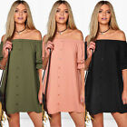 WOMENS LADIES OFF THE SHOULDER BUTTON EVENING SHIRT DRESS SKIRT TOPS TSHIRT