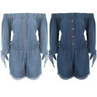 Women's Off Shoulder Stretch Denim Tie Up Cuff Long Sleeve Bardot Playsuit