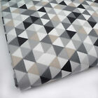 BLACK & GREY Le TRIANGLE GEOMETREIC 100% COTTON FABRIC 160cm OEKO-TEX