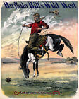 POSTER BUFFALO BILL'S WILD WEST BUCKING BRONCO HORSE USA VINTAGE REPRO FREE S/H