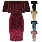 Ladies Bardot Off Shoulder Ruffle Frill Top Crushed Velvet Bodycon Party Dress