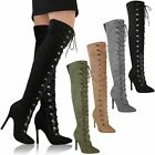 Womens Ladies Thigh High Over The Knee Stiletto Heel Boots Lace Up Shoes Size