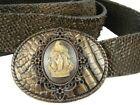 Other Side Dead Hand Cameo Buckle Whimsical Originals on Bronze Leather Belt