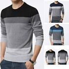 Men's Casual Sweater Splice Cotton Pullover Striped Polyester Long Sleeve Tops