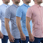 Mens Casual Shirts Stallion Slim Fit Short Sleeve Formal Shirt Top S M L XL New