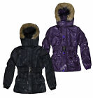 Girls Hooded Puffa Jacket New Kids Winter School Coat Purple Black Ages 3-12 Yrs