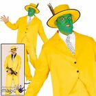 Mens Jim Carrey 90s Film The Mask Yellow Gangster Zoot Suit Fancy Dress Costume
