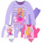 Girls Barbie Long Sleeved Pyjama Set New Kids 100% Cotton PJS Nightwear 2-8 Yrs