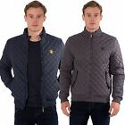 Mens Quilted Funnel Neck Zip up Jacket Harrington Coat by Santa Monica Size S-XL