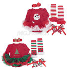 4PCS Infant Baby Newborn Girls Christmas Party Romper Dress Outfits Xmas Sets