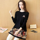 new spring Autumn fashion beautiful Joining together knitting printing Ms. dress