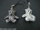 CUTE BLING JEWEL DIAMONTE SILVER TEDDY BEAR MOBILE PHONE HANDBAG CHARM 3.5cm